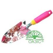 Лопатка садовая, широкая металлическая, разноцветная, с прорезиненной рукояткой