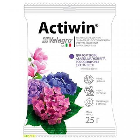 Комплексне мінеральне добриво Actiwin для гортензій, азалій, магнолій і рододендронів 25г, NPK 12.5.20, Весна-Літо фото