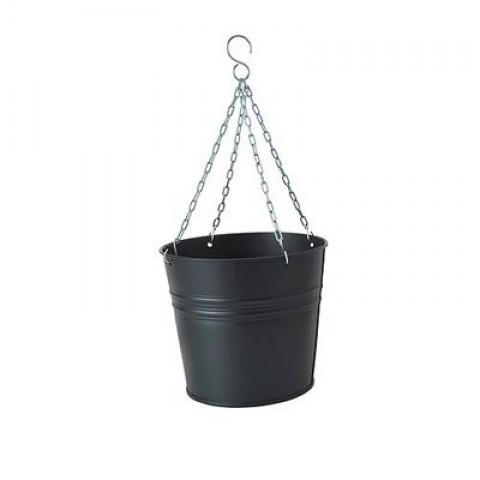 Подвесной горшок чёрный 20 см фото