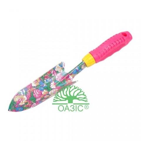Лопатка садовая, узкая металлическая, разноцветная, с прорезиненной рукояткой  фото